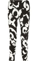 Proenza Schouler Printed Paneled Crepe Tapered Pants - Lyst