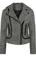Karl Lagerfeld Burel Satin-trimmed Tweed Biker Jacket - Lyst
