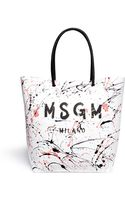 MSGM Splatter Paint Leather Tote - Lyst