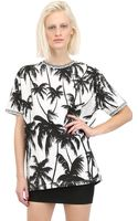 Fausto Puglisi Palm Printed Cotton Jersey T-Shirt - Lyst