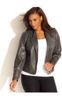 Calvin Klein Plus Size Leather Moto Jacket - Lyst