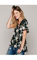 Free People Short Sleeve Printed Open Back Tunic - Lyst