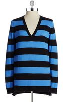 MICHAEL Michael Kors Striped Vneck Sweater - Lyst