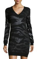 McQ by Alexander McQueen Shimmer Zebraknit Sweater Dress - Lyst