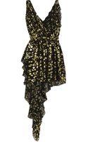 Saint Laurent Ruffled Metallic Flocked Silk Blend Dress - Lyst