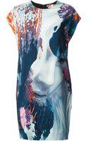 MSGM Graphic Print Shift Dress - Lyst