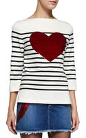 Marc Jacobs 34-sleeve Striped Top W Heart - Lyst