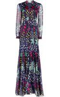 Matthew Williamson 3d Star Print Silk Chiffon Godet Maxi Dress - Lyst
