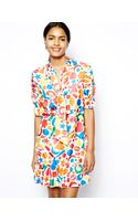 Love Moschino Printed Silk Shirt Dress with Scarf Tie and Half Length Sleeves - Lyst