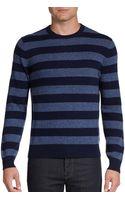 Saks Fifth Avenue Black Striped Cashmere Crewneck Sweater - Lyst