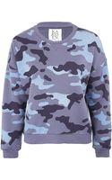 Zoe Karssen Blue Camouflage Sweatshirt - Lyst