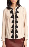 Diane Von Furstenberg Blanche Lace-trim Silk Blouse - Lyst