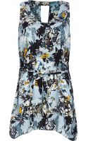 River Island Blue Floral Print Tunic - Lyst