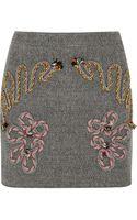 Stella McCartney Embroidered Tweed Mini Skirt - Lyst