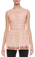 RED Valentino Lace Organza Peplum Top - Lyst