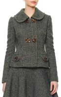 Dolce & Gabbana Double Jewelbutton Herringbone Jacket - Lyst