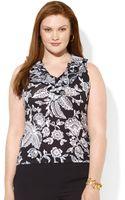 Lauren by Ralph Lauren Plus Size Sleeveless Ruffled Floralprint Top - Lyst