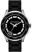 Karl Lagerfeld Unisex Black Siliconewrapped Stainless Steel Bracelet Watch 44mm - Lyst