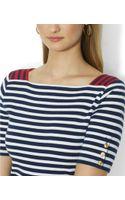 Ralph Lauren Lauren Shortsleeve Squareneck Striped Top - Lyst