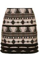 Topshop Tall Fringe Hem Aztec Pelmet Skirt Neutral - Lyst