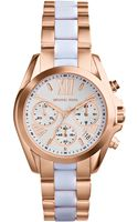 Michael Kors Womens Chronograph Mini Bradshaw White and Rose Goldtone Stainless Steel Bracelet Watch 36mm - Lyst
