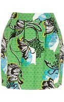River Island Green Tropical Print Structured Mini Skirt - Lyst