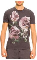 Dolce & Gabbana Shortsleeve Tshirt with Printed Roses - Lyst