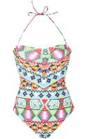 Mara Hoffman Lattice Back One Piece - Lyst