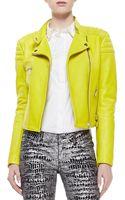 Cusp Neon Leather Zip Biker Jacket Lime Green - Lyst