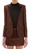 Saint Laurent Leopard Jacquard Tuxedo Jacket - Lyst