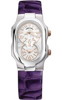 Philip Stein Ladiesâ Signature Stainless Steel Dual Time Zone Watch with Leather Strap - Lyst