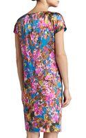 St. John Botanica Print Silk Stretch Charmeuse Cap Sleeve Dress with Pockets - Lyst