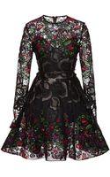 Elie Saab Embroidered Floral Guipure Short Dress - Lyst