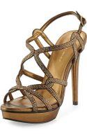 Pelle Moda Flirt Metallic Evening Platform Sandal - Lyst