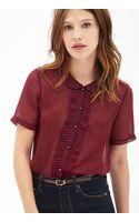 Forever 21 Ruffle Stripe Woven Shirt - Lyst