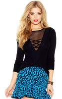 Guess Long-sleeve Mesh-inset Sweater - Lyst