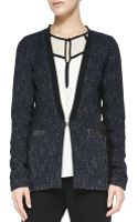 Nanette Lepore Scandal Leathertrim Tweed Jacket - Lyst