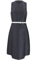 Michael Kors Jacquard Pleated Aline Dress with Belt - Lyst