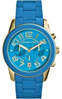 Michael Kors Womens Chronograph Mercer Turquoise Silicone Bracelet Watch 42mm - Lyst