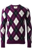 Burberry Argyle Pattern Sweater - Lyst