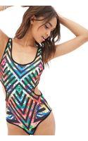 Forever 21 Floral Striped Bodysuit - Lyst