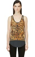 Balmain Black and Yellow Leopard Print Tank Top - Lyst