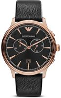Emporio Armani 3 Hand Chronograph Leather Strap Watch 43mm - Lyst