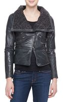 Bagatelle Leather Moto Jacket with Knit Collar - Lyst