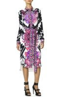 Emilio Pucci Longsleeve Printed Silk Shirtdress with Self Belt Multicolor - Lyst