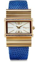 Ferragamo Sapphire Stainless Steel Leather Watch - Lyst