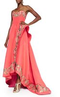 Oscar de la Renta Embroidered Strapless Ruffle Highlow Gown - Lyst