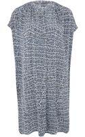 Vince Grey Static Print Silk Dress - Lyst