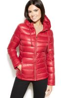 Calvin Klein Petite Hooded Quilted Packable Down Puffer Coat - Lyst