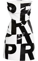 Anthony Vaccarello Strapless Black Print Dress - Lyst